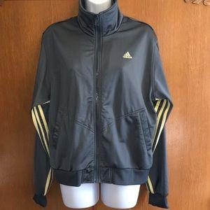 Adidas Athletic Full Zip Jacket Gray Yellow Large